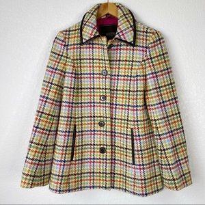 Coach Tattersall 100% Wool Hampton Pea Coat